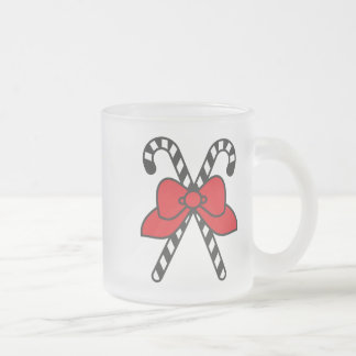 Happy Holidays - Pretty Candy Canes Frosted Glass Coffee Mug