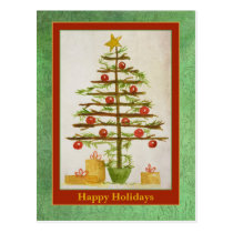 Happy Holidays Primitive Christmas Tree Postcard
