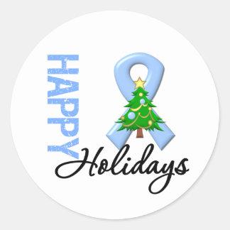 Happy Holidays Prostate Cancer Awareness Classic Round Sticker