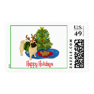 Happy Holidays Pug Postage Stamps
