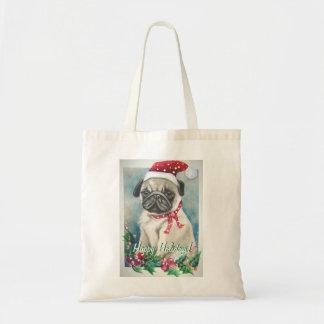 Happy Holidays Pug Tote Bag