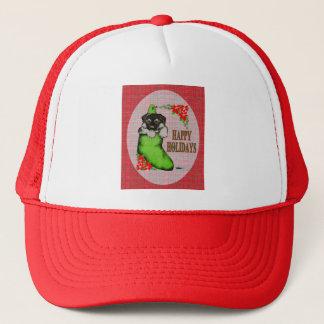 Happy Holidays Puppy Trucker Hat