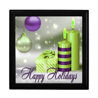 Happy Holidays Purple Green Decorations Gift Box