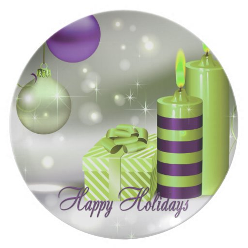 Happy Holidays Purple Green Decorations Plates