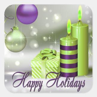 Happy Holidays Purple Green Decorations Square Sticker