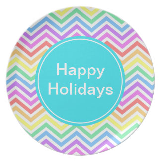 Happy holidays, rainbow chevron plate