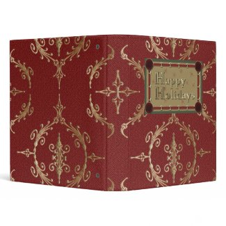 Happy Holidays Red and Gold Binder binder