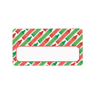 Happy Holidays Red and Green Crayons Address Label