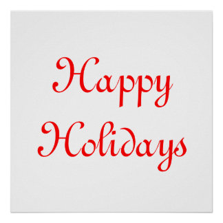 Happy Holidays Red and White Festive Print