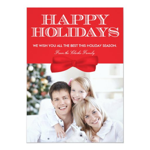 Happy Holidays Red Bow & Mittens Photo Card
