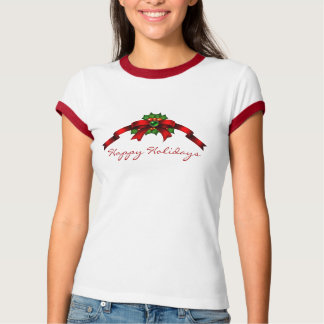 Happy Holidays Red Bow With Holly Berries T-Shirt