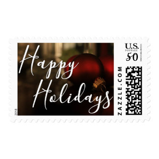 Happy Holidays Red Christmas Ornaments Photo Postage