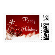 Happy Holidays Red Christmas Postage Stamps at Zazzle