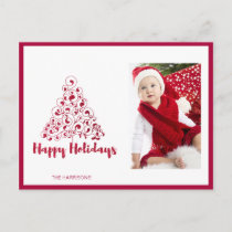 Happy Holidays Red Christmas Tree Holiday Postcard