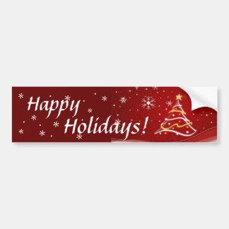 Happy Holidays Red Christmas Tree Sticker