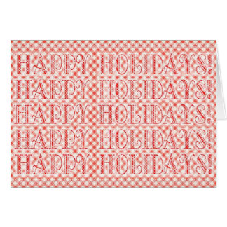 Happy Holidays Red Gingham Check Card