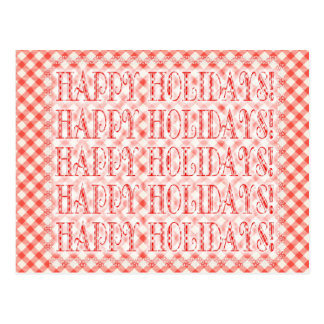 Happy Holidays Red Gingham Postcard