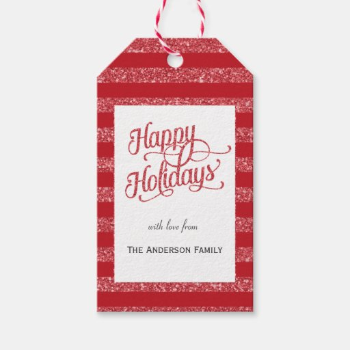 Happy Holidays red glitter gift tags Pack Of Gift Tags