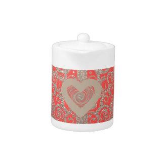 Happy Holidays Red Glitter heart design Teapot