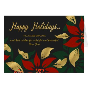 Professional Business Happy Holidays Red & Gold Poinsettia Faux Foil Card