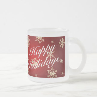 Happy Holidays Red Holiday Glass Mug Set