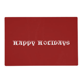 Happy Holidays Red Laminated Placemat