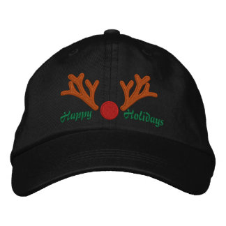 Happy Holidays Red Nose Reindeer Embroidery Embroidered Baseball Hat