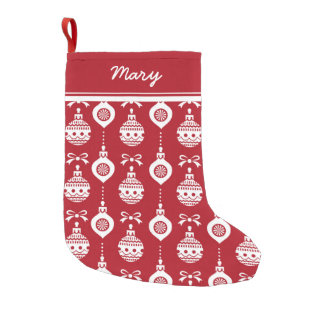 Happy Holidays Red Ornaments Small Christmas Stocking