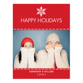 Happy Holidays Red Plaid Holiday Postcard