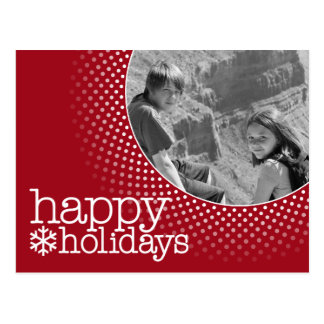 Happy Holidays - Red Polka Dot Border Postcard