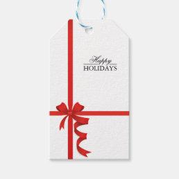 Happy Holidays Red Ribbon Gift Tags