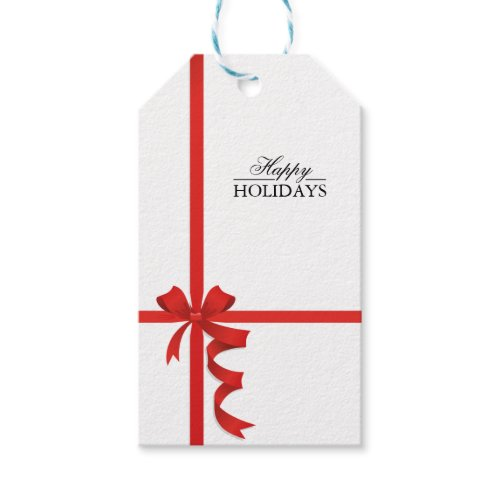 Happy Holidays Red Ribbon Gift Tags Pack Of Gift Tags