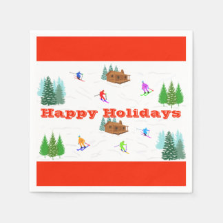 Happy Holidays | Red Ski Cabin Napkins
