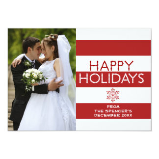 Happy Holidays Red Snowflake Family Photo Card