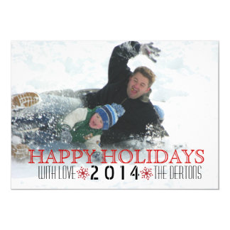 Happy Holidays, red snowflake modern photo 5x7 Paper Invitation Card