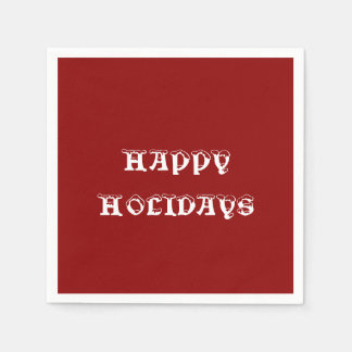 Happy Holidays Red Standard Cocktail Napkin