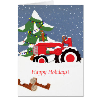 Happy Holidays! Red Tractor Card