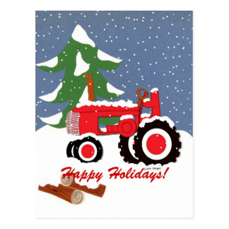Happy Holidays! Red Tractor Postcard
