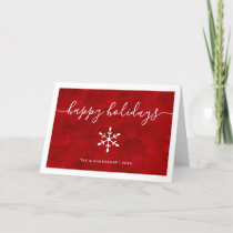 Happy Holidays | Red Watercolor with Script Holiday Card