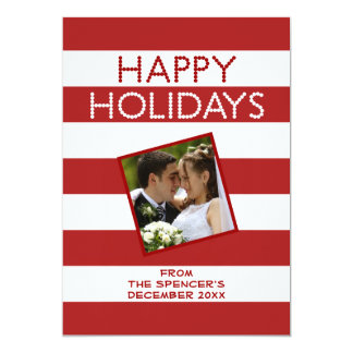 Happy Holidays Red White Family Photo Card