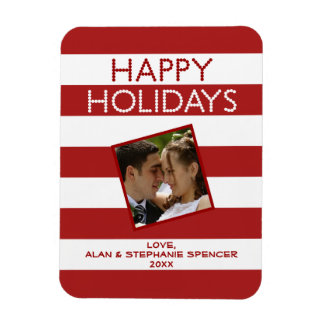 Happy Holidays Red White Holiday Photo Magnet