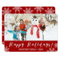 Happy Holidays Red & White Personalized Photo Card