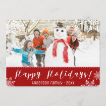 Happy Holidays Red & White Personalized Photo Holiday Card
