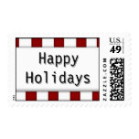 Happy Holidays Red White Whimsical Candy Cane Postage Stamps