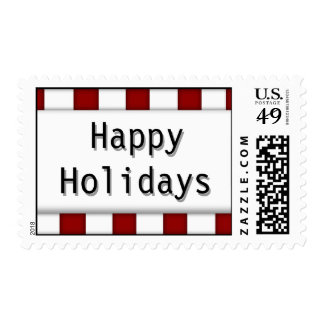 Happy Holidays Red White Whimsical Candy Cane Stamp