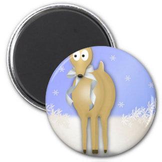 Happy Holidays Reindeer 2 Inch Round Magnet