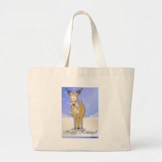 Happy Holidays Reindeer Canvas Bags