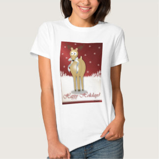 Happy Holidays Reindeer Red T-shirt