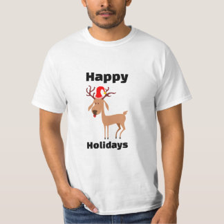 Happy Holidays Reindeer With Santa Hat T Shirt