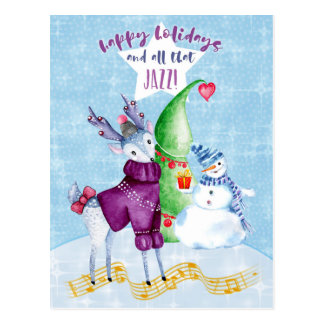 Happy Holidays Reindeer with Sweater Postcard